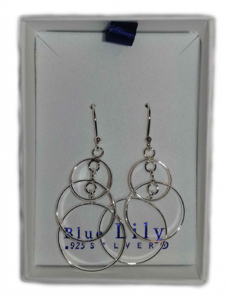 Triple Hoops Drop Sterling Silver Earrings